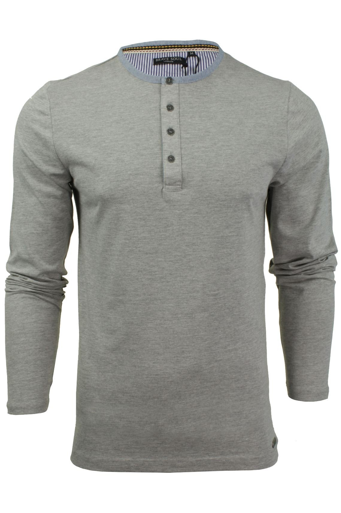 Men s Brave Soul Long Sleeve 100% Cotton Grandad Collar Casual Top ... b49b1f27f0
