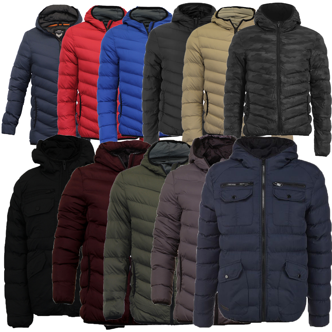 e073ffd35 Mens Brave Soul Grant Jose Hugo Hooded Plain Quilted Padded Puffer Jacket
