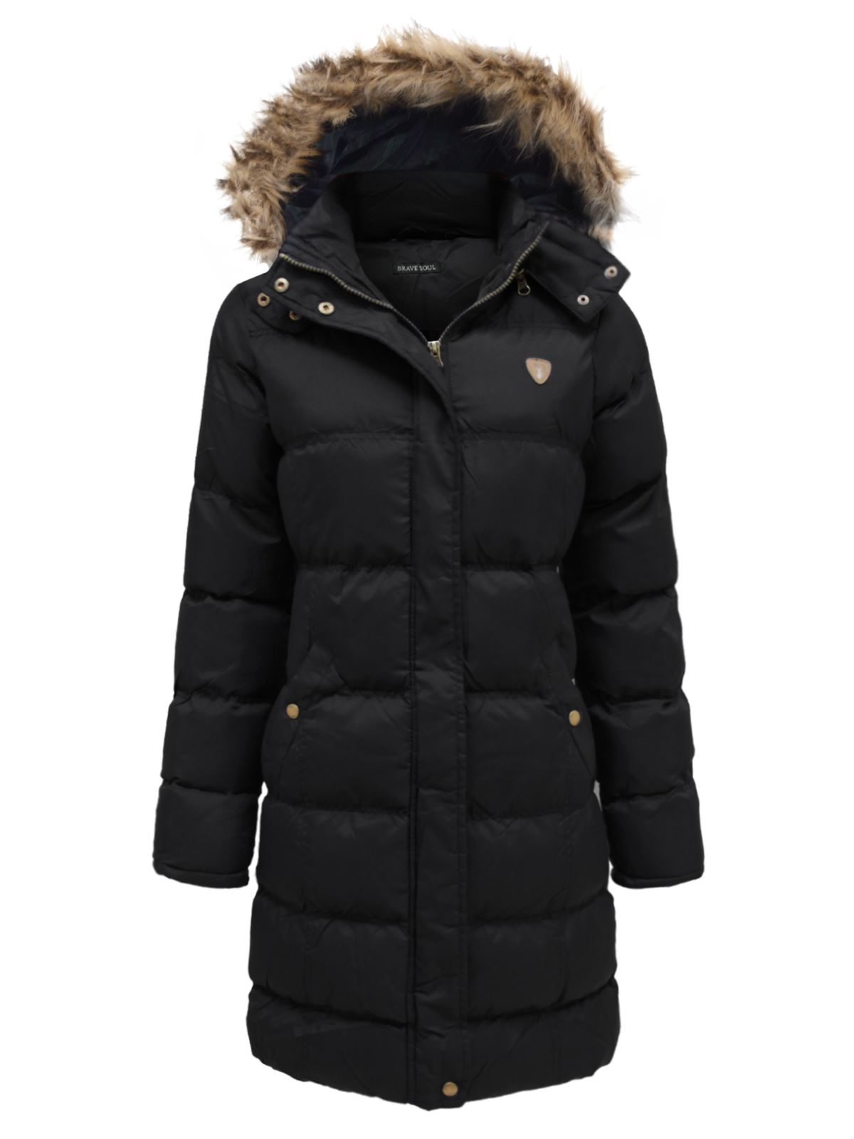 Ladies Brave Soul Hop Long Hooded Padded Puffer Parka Winter Jacket