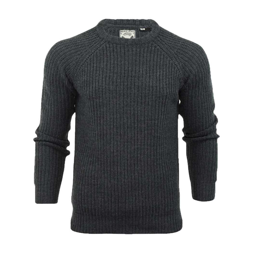 new & pre-owned designer classcic buying now Details about Mens Thick Chunky Knit Crew Neck Jumper Fishermans Jumper Rib  Knit Brave Soul
