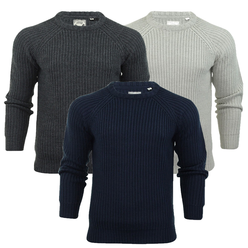 d4f85ee863701c Mens Thick Chunky Knit Crew Neck Jumper Fishermans Jumper Rib Knit Brave  Soul