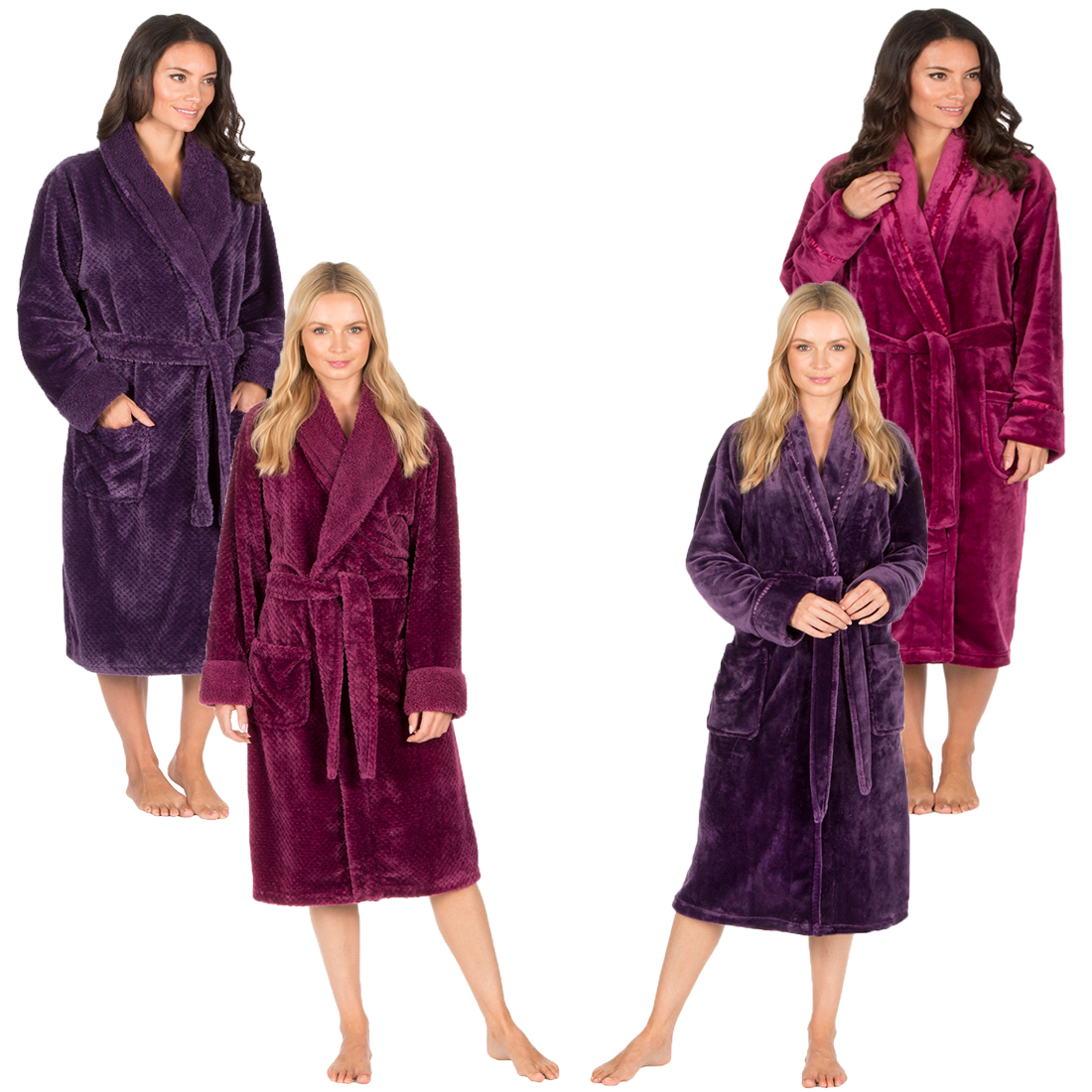 debe363680 Ladies Forever Dreaming Super Soft Hooded Flannel Fleece Dressing Gown Robe