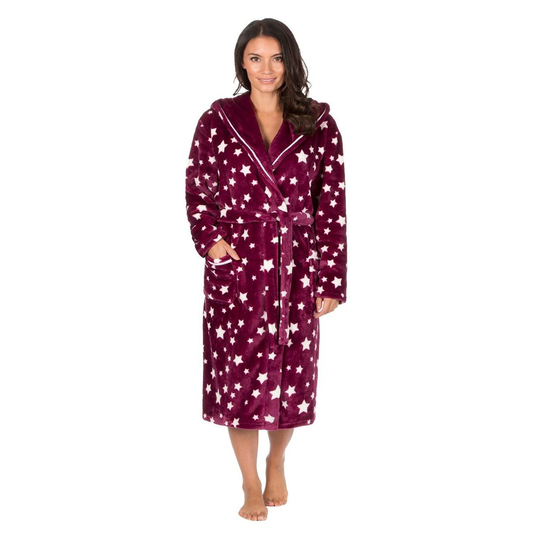 Forever Dreaming Ladies Supersoft Star Hooded Robe Dressing Gown