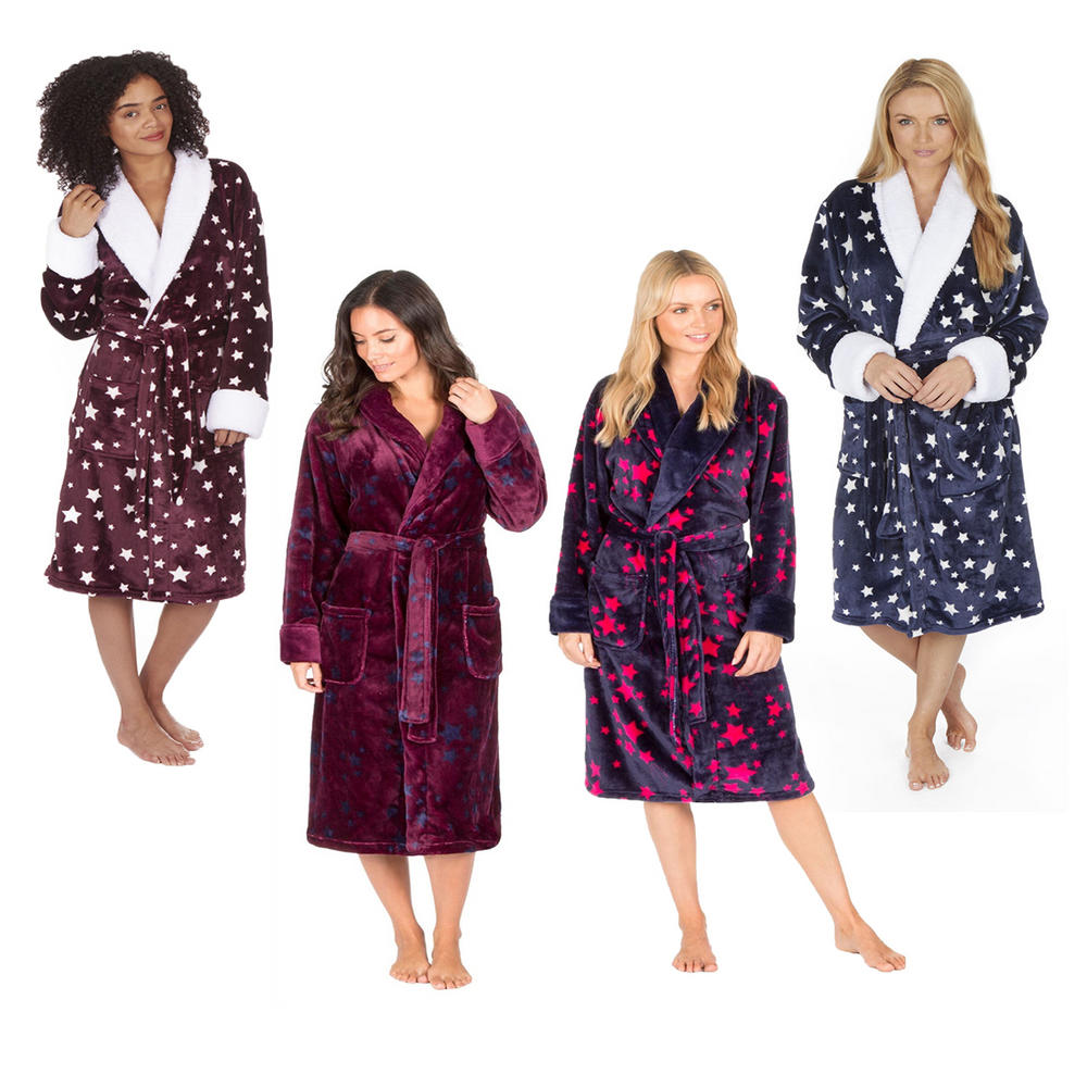 3cc0f76fe7 Ladies Forever Dreaming Soft Shawl Collar Flannel Fleece Star Dressing Gown  Robe