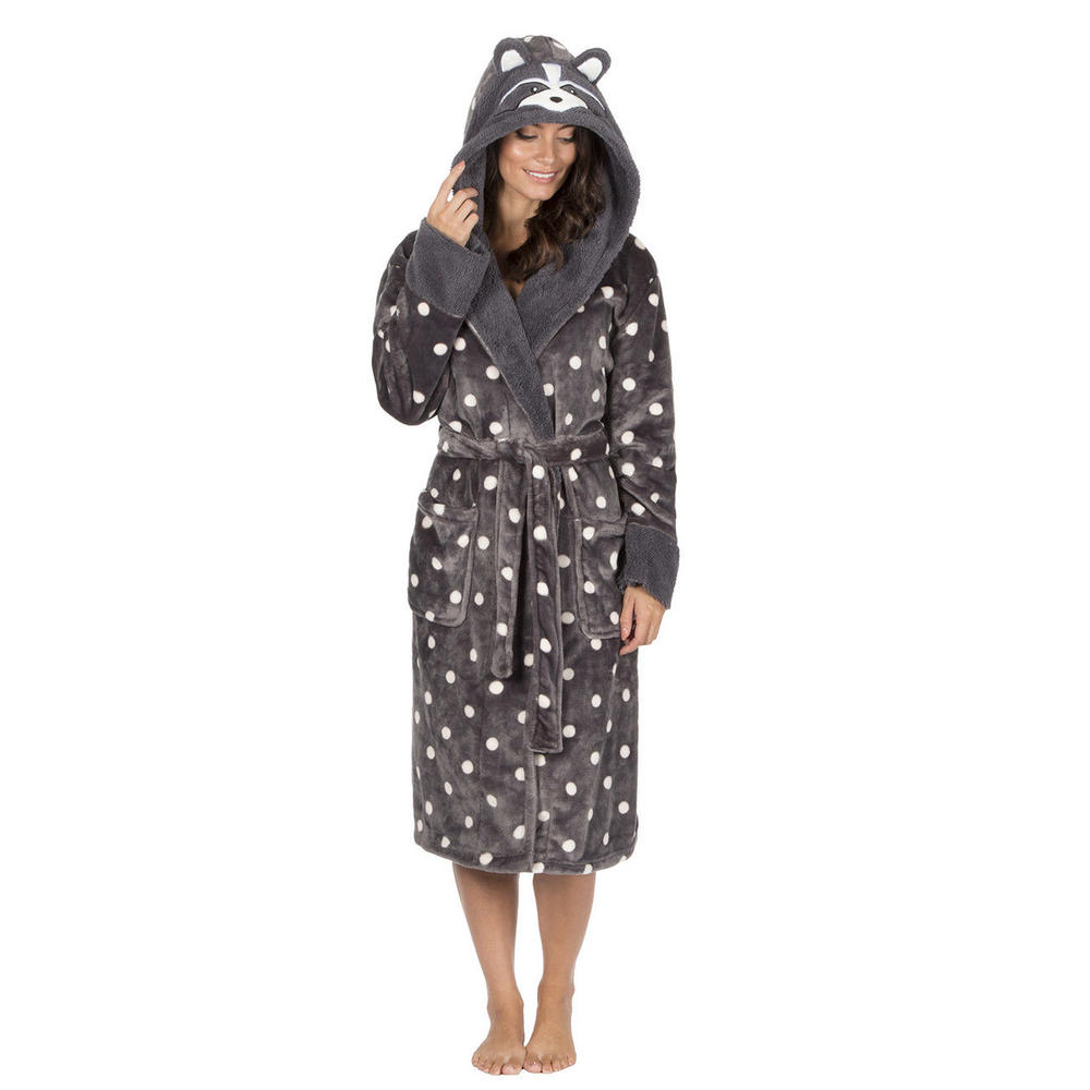 Womens Size 8-22 Fleece Dressing Gown Novelty Hooded Design Bath Robe Great Gift