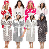 Ladies Forever Dreaming Novelty Soft Hooded Christmas Fleece Dressing Gown  Robe 0debee2f8