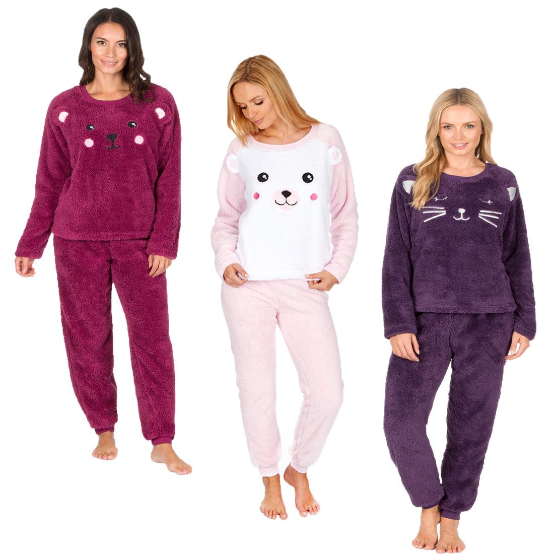 9bf4c48eb6 Ladies Forever Dreaming Novelty Soft Warm Micro Fleece PJ Animal Pyjama  Twosie