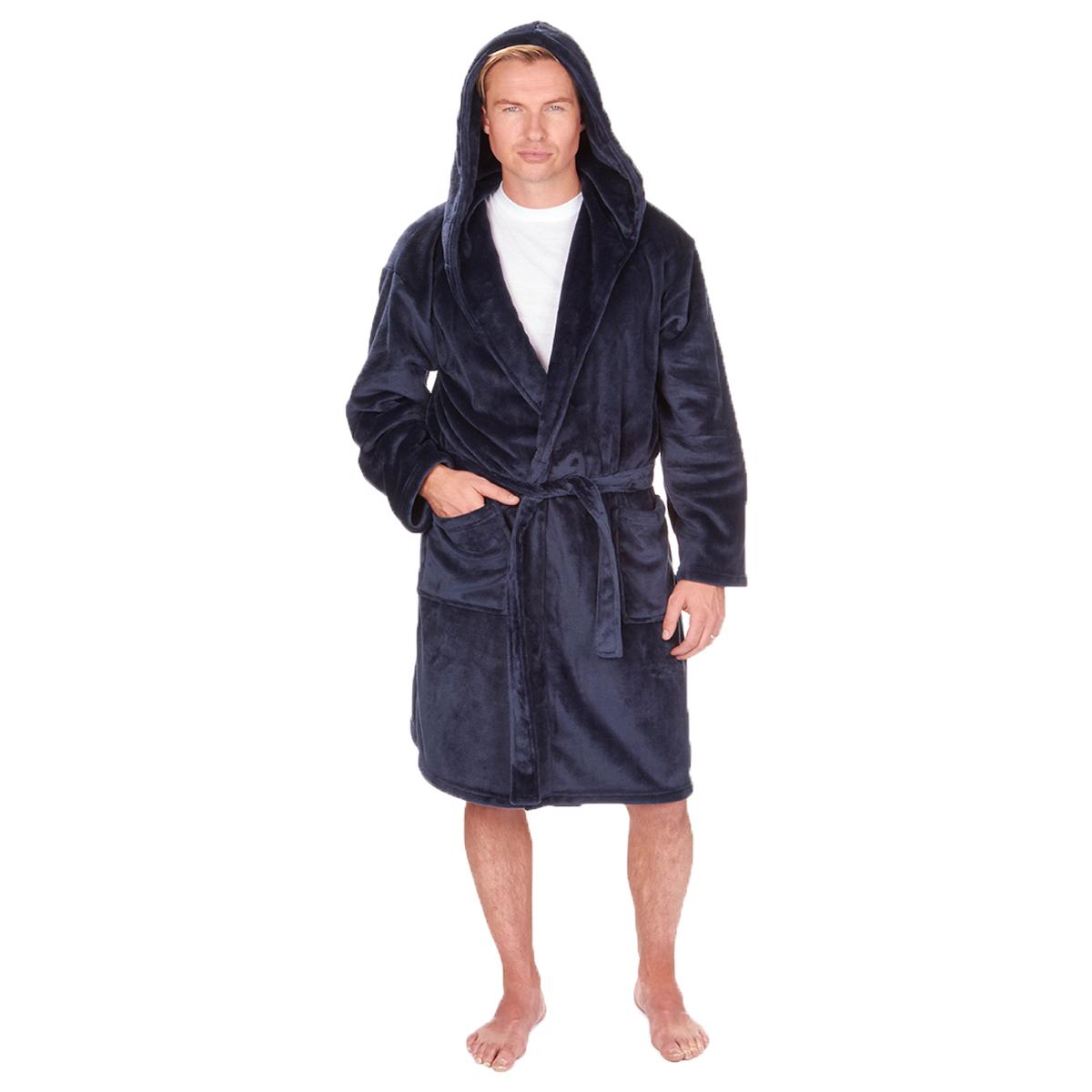 Men\'s Pierre Roche Luxury Flannel Fleece Soft Bath Spa Robe Dressing ...