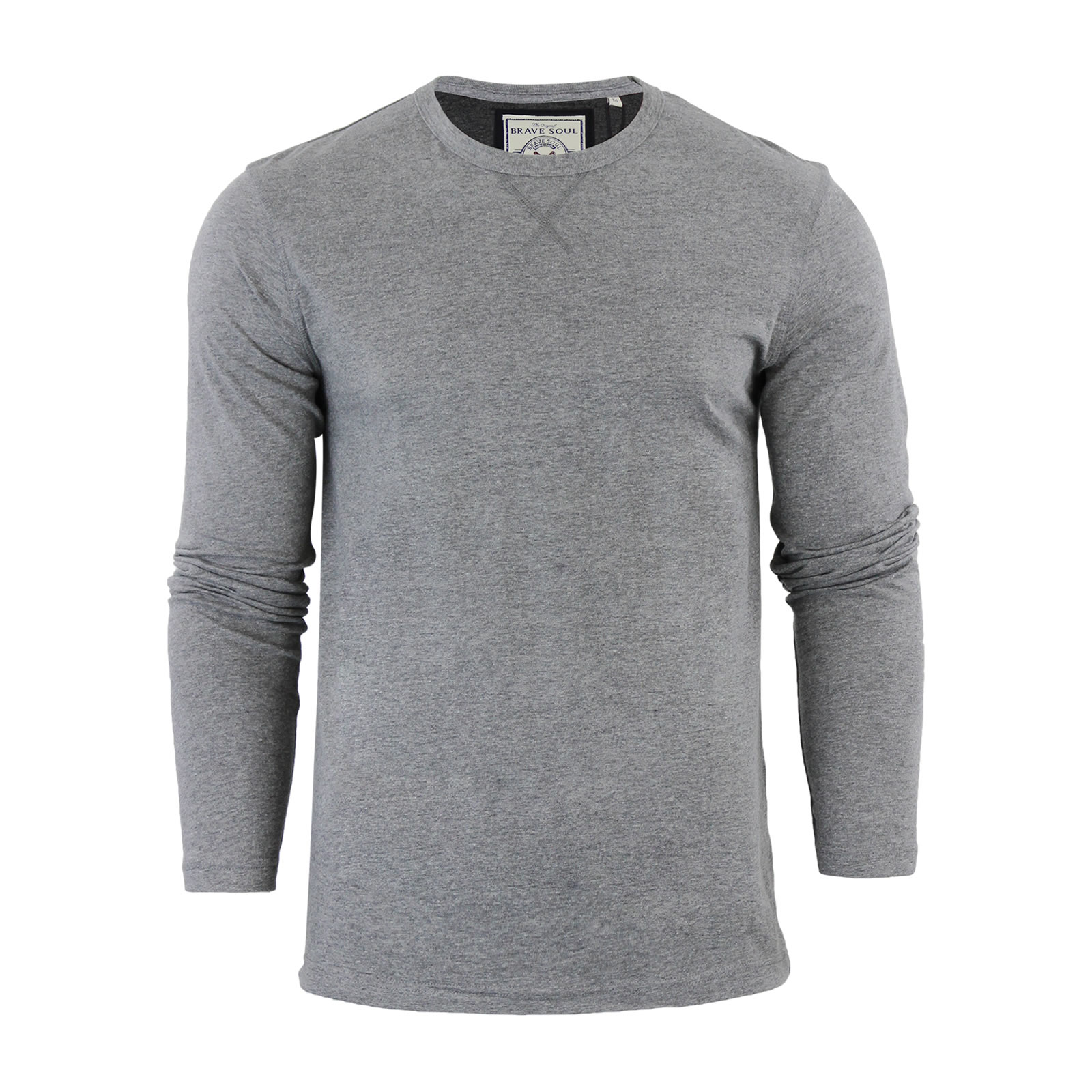 16e76c85 Mens Long Sleeve Top T-shirt Casual Crew Neck Muscle Shirt Gym Brave ...