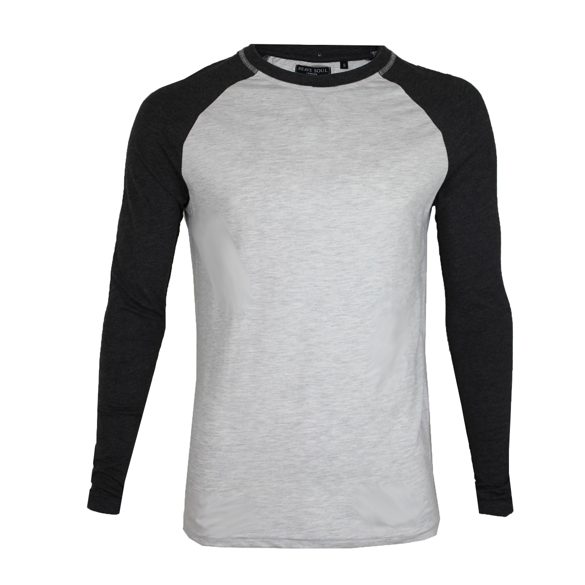 1aeaf020e4be Men's Crew Neck Cotton Rich Long Sleeve Top T-shirts By Brave Soul ...
