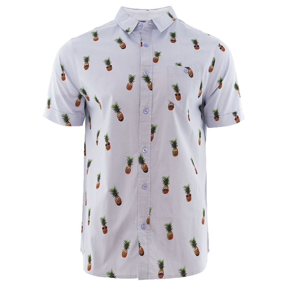 bb2153be Sentinel Mens Short Sleeve Brave Soul Pineapple All Over Print Summer  Casual Shirt