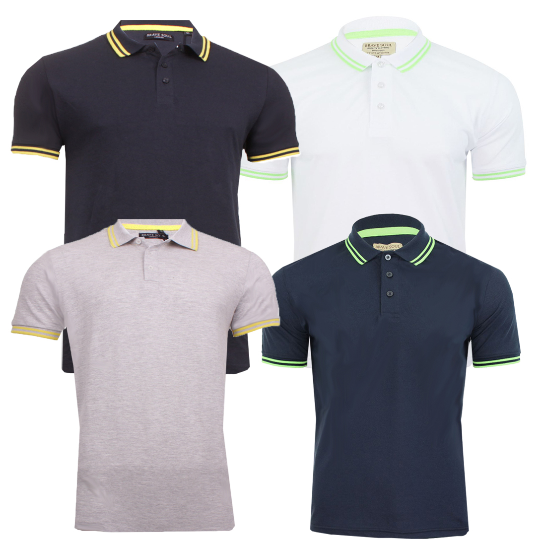 7d2d4413 Mens Brave Soul Polo Collection Golf Tops Short Sleeve SovietB