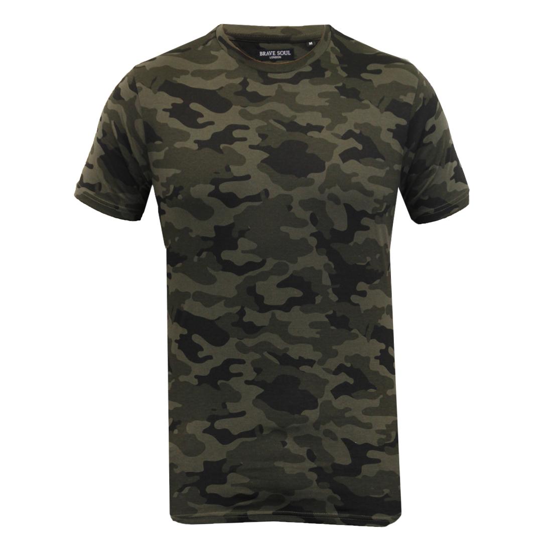 Mens Crew Neck Military Camo Combat Short Sleeve Tee Shirts T-Shirts Tops Blouse