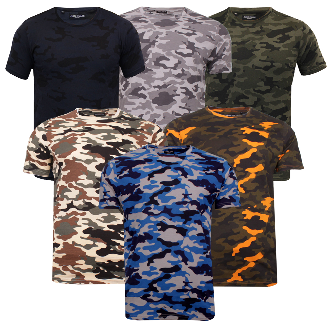 199fd303 Men's Brave Soul 100% Cotton Camo Disguise T-Shirt Military Camouflage Tee