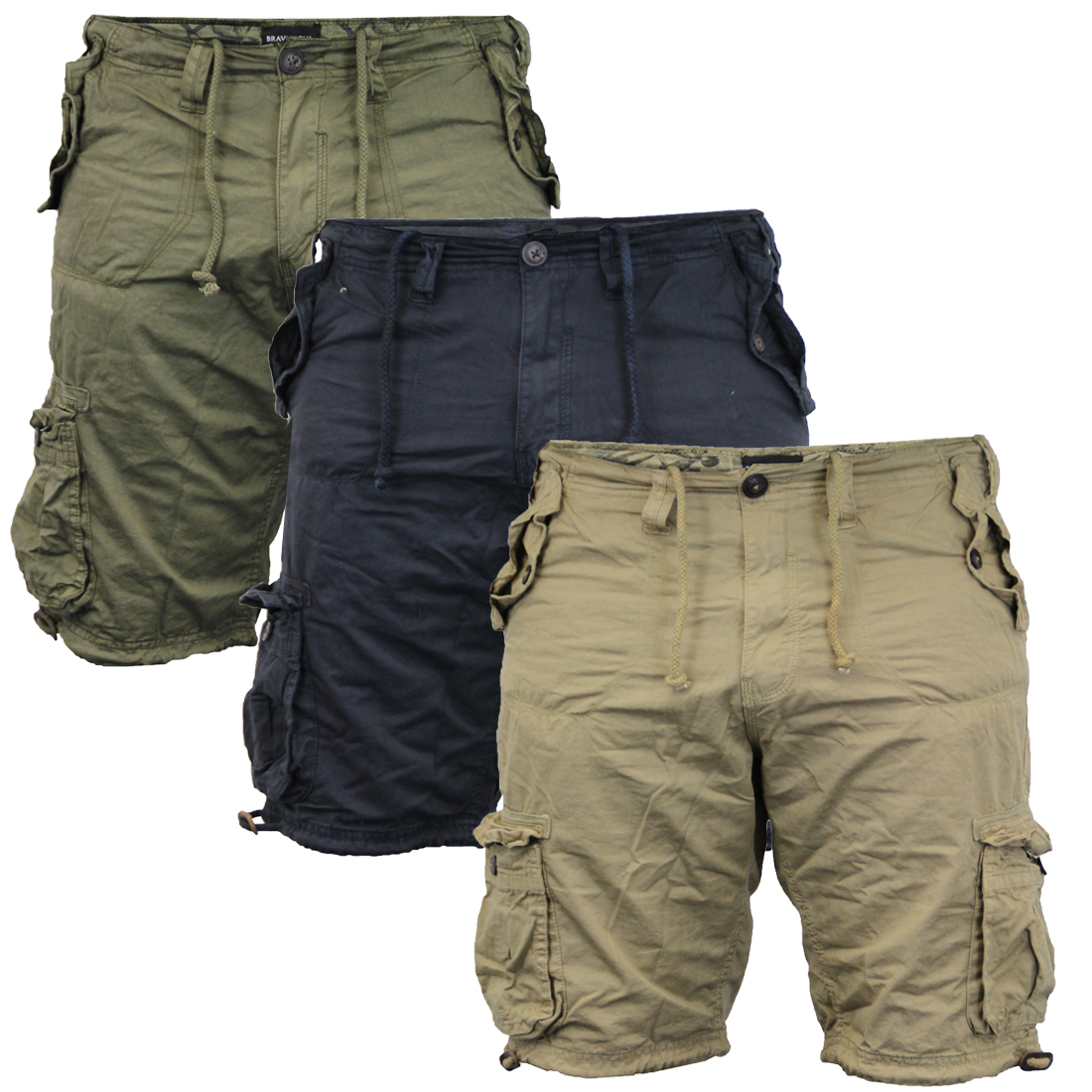 8fffe7cb8c Men's Cargo Utility Hiking Short Cotton Twill By Brave Soul | eBay