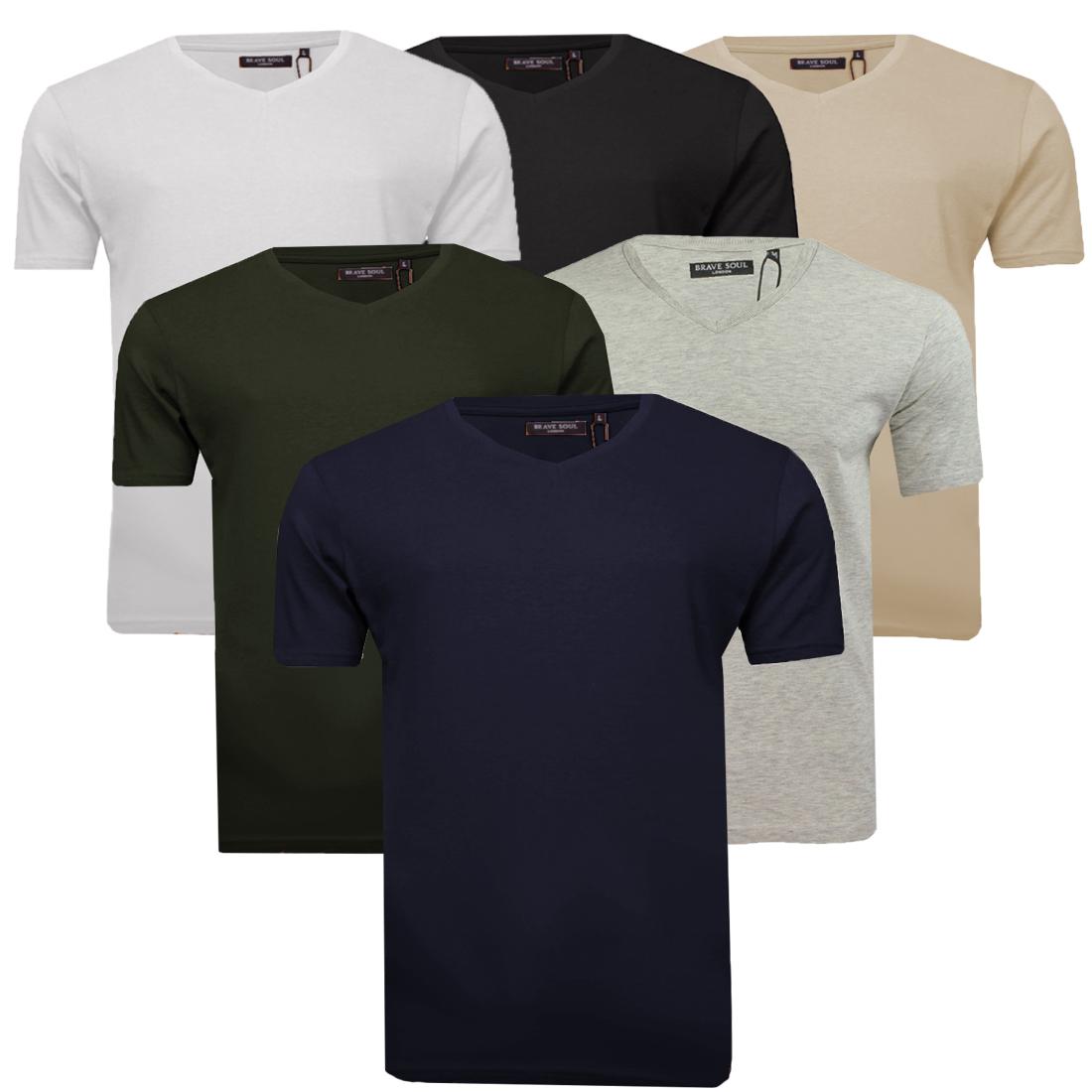 XL Mens V-Neck Cotton T-Shirt by Designer Brave Soul Short Sleeve New Sizes S