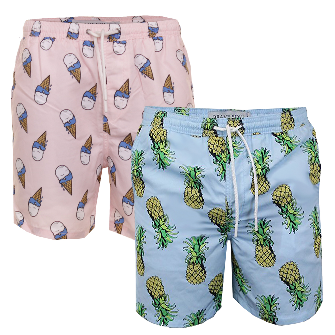 9df2d9473c Mens Brave Soul Fun Print Sangria Swim Board Shorts Trunks | Price ...