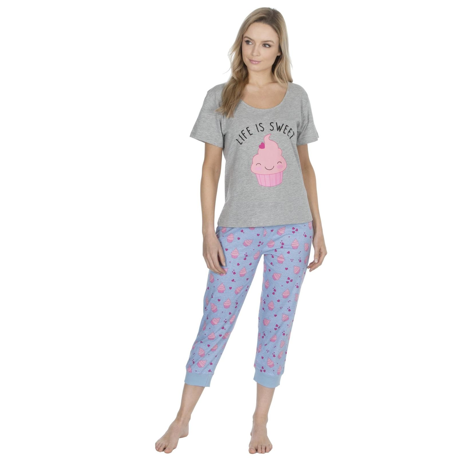 Ladies Cotton Rich Pyjama Sets Photo Print Top and Bottom Set Forever Dreaming