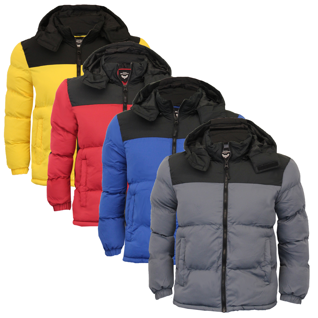 e3b460ac5 Mens Quilted Padded Hooded Winter Bubble Jacket Coat Dale By Brave Soul