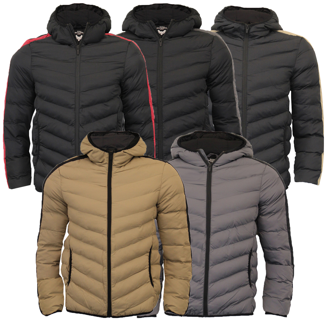 6adb8bd7a Brave Soul Mens Retro Hooded Quilted Padded Winter Puffer Bubble Jacket Coat