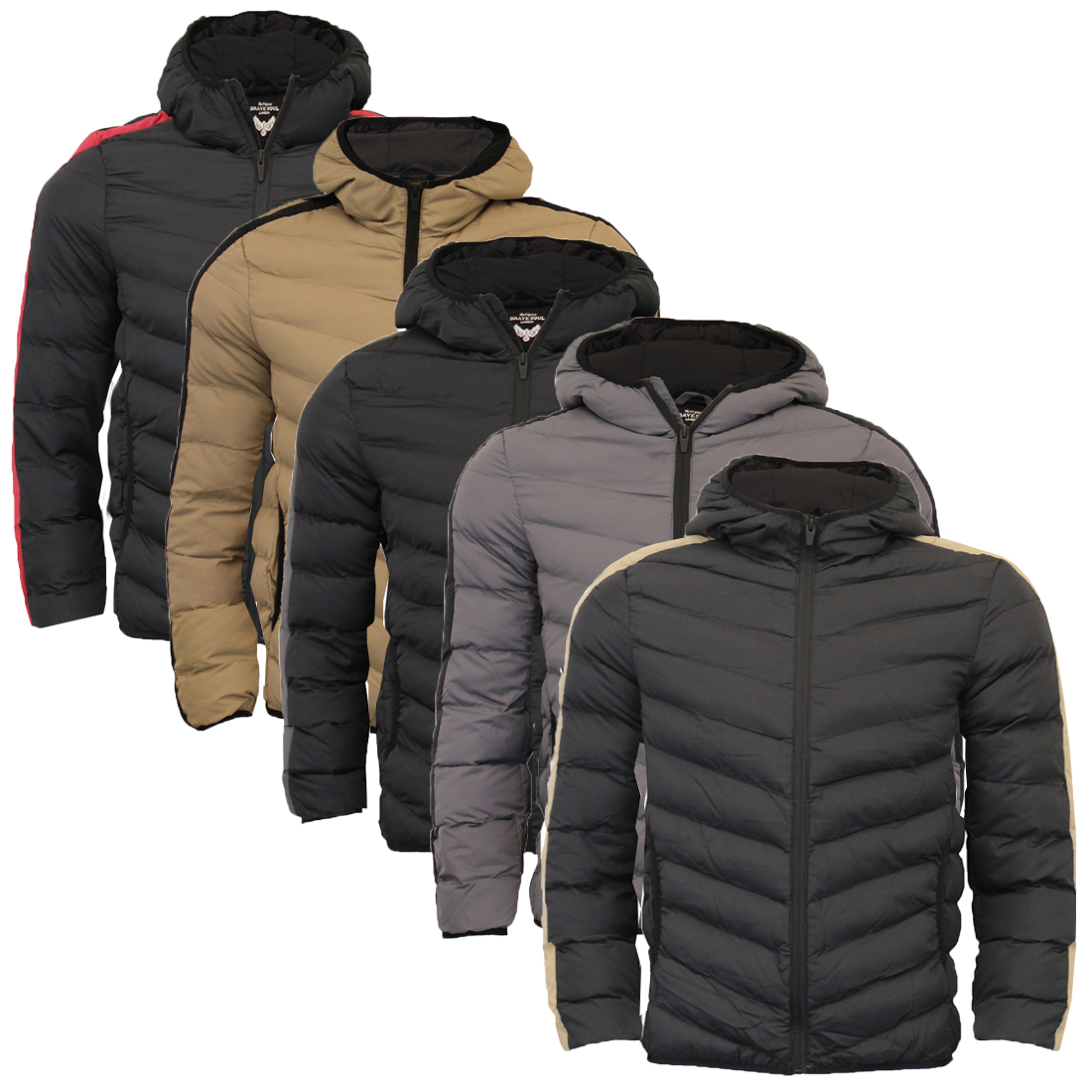Brave Soul Mens Hooded  Quilted Padded Winter Puffer Bubble Jacket Coat