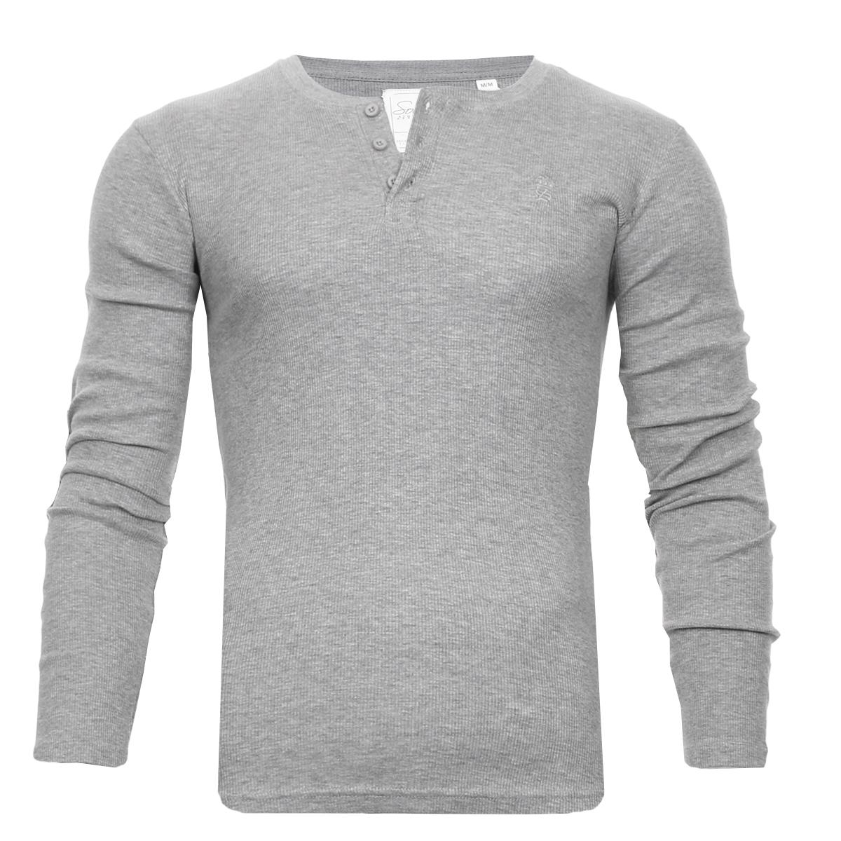 Men-Grandad-T-Shirt-Long-Sleeve-Jersey-Ribbed-Top-Cotton-Rich-Brave-Soul thumbnail 18