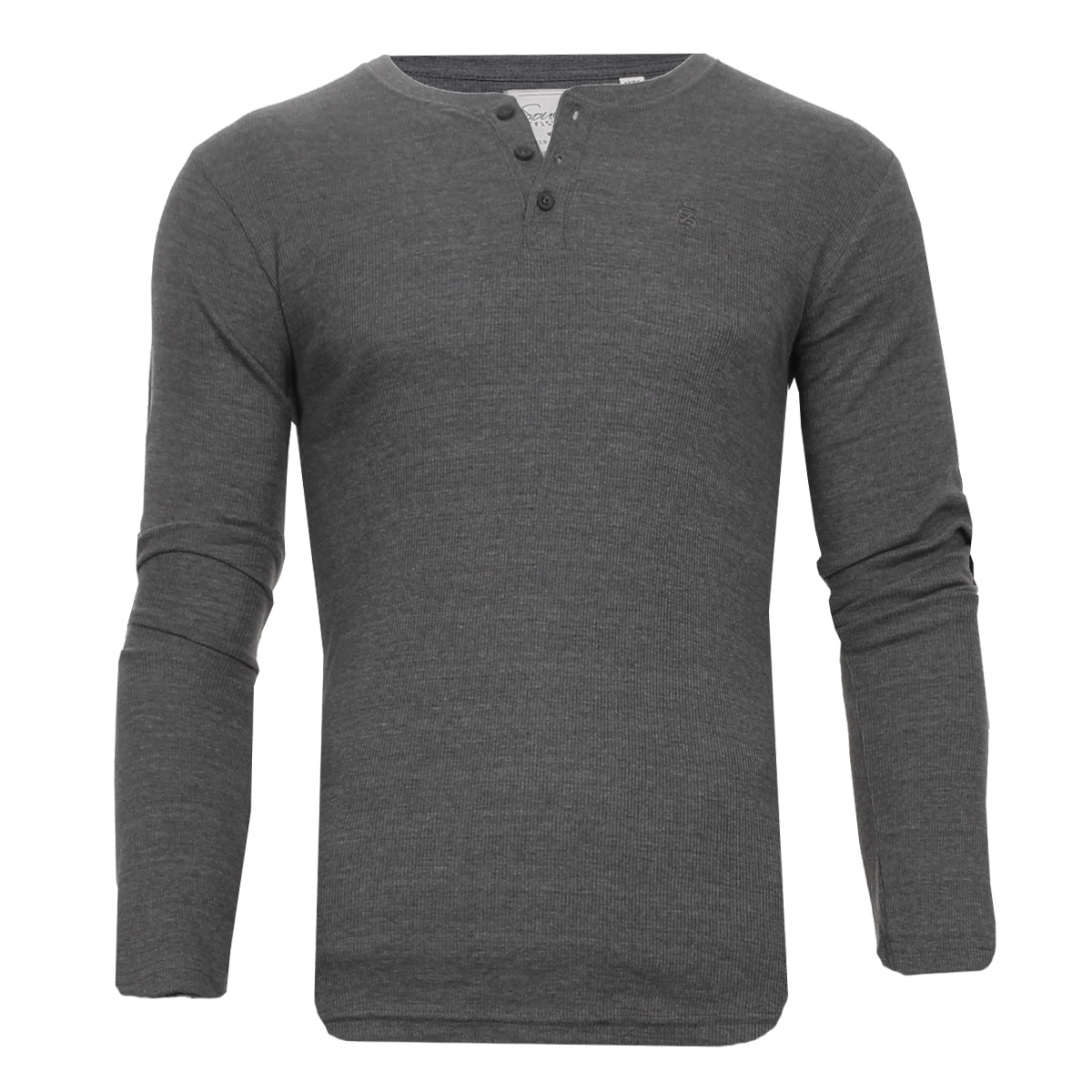 Men-Grandad-T-Shirt-Long-Sleeve-Jersey-Ribbed-Top-Cotton-Rich-Brave-Soul thumbnail 37