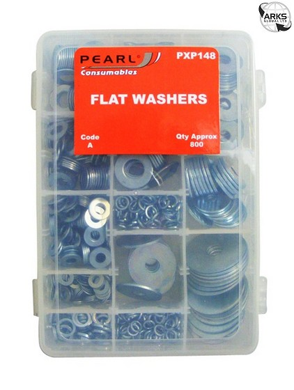 Details about PEARL CONSUMABLES Zinc Plated Washers - Flat - Assorted -  Pack Of 800 - PXP148