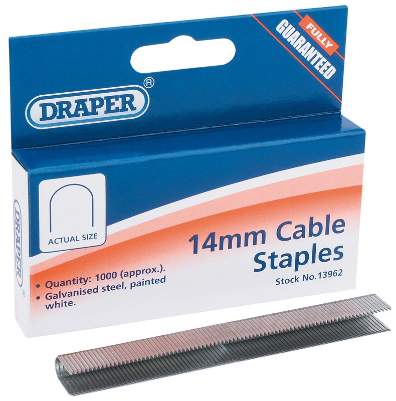 Pack Of 1000 Draper 13962 14mm Staples Cable Wiring Professional Fasteners New
