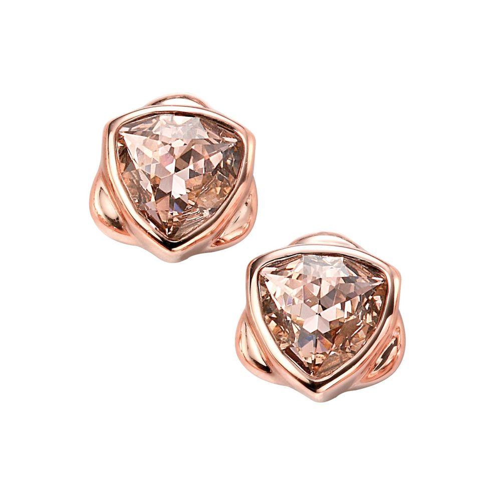 Elements Silver Rose Gold Plated Vintage Swarovski Crystal Stud Earring