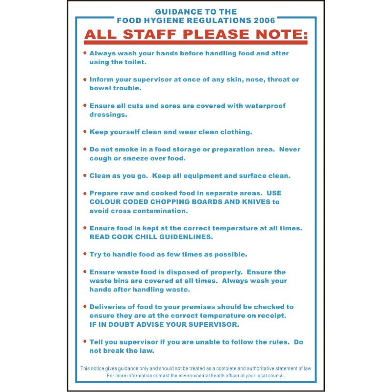 Details About Vogue Food Safety Act 1995 Guidance Sign Next Working Day Uk Delivery