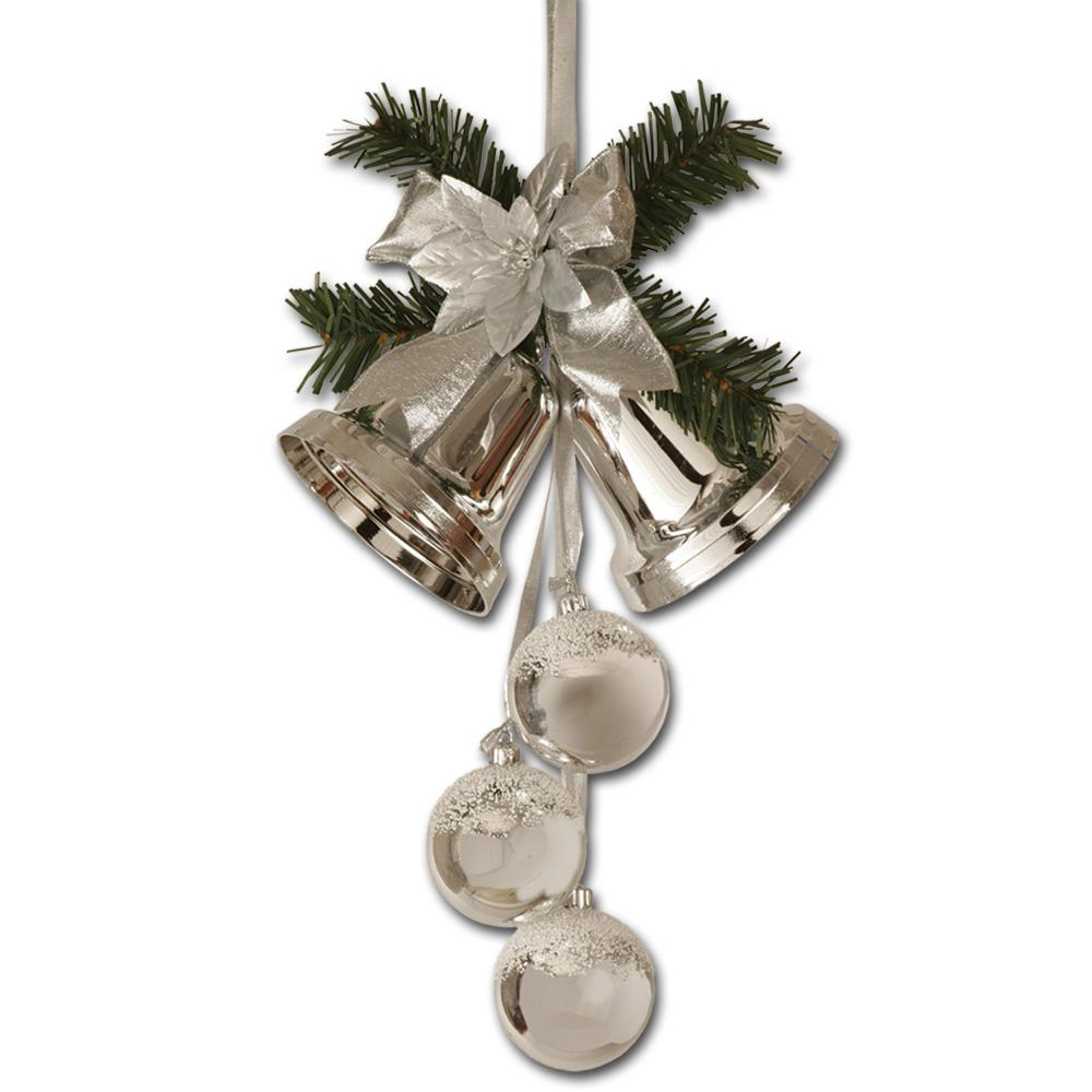 Details about Peeks 40cm Silver Christmas Xmas Bell & Ball Cluster Hanging Room Decoration