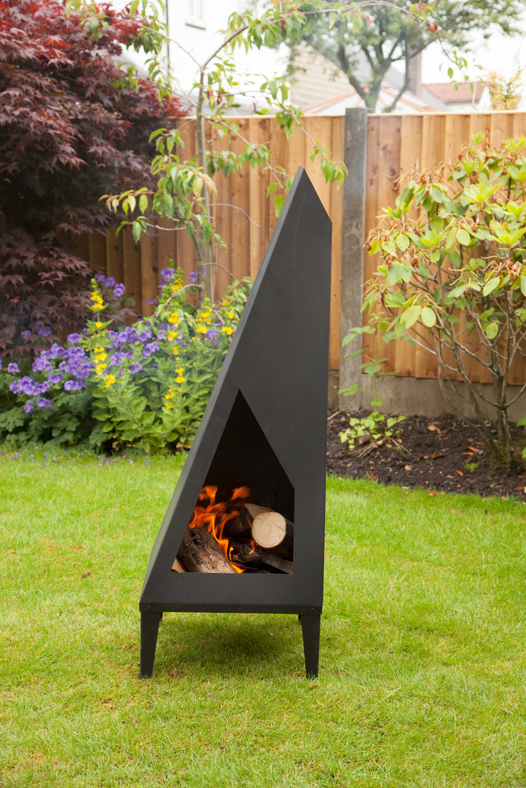 Made Ou0027 Metal Steel Modern Art Garden Patio Chiminea Chimney Burner 1.3m  Heater