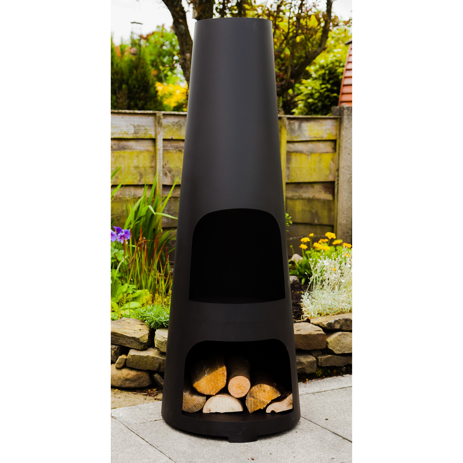 made o 39 metal garden patio fire chimney heater large steel wood burner chimenea ebay. Black Bedroom Furniture Sets. Home Design Ideas