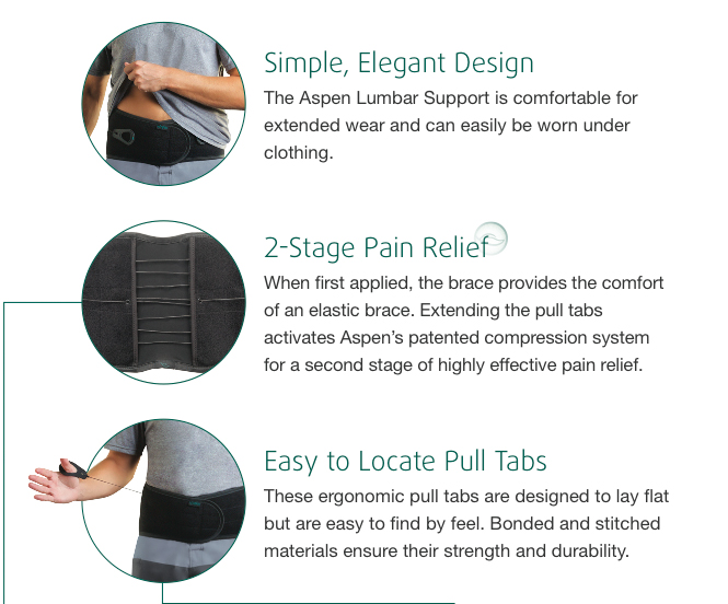 New Aspen Adjustable Lower Back Spinal Compression Lumbar Support