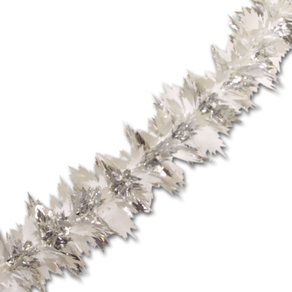 Sentinel Peeks Deluxe Starfire Silver White Christmas Decorations Tinsel Garland 27m