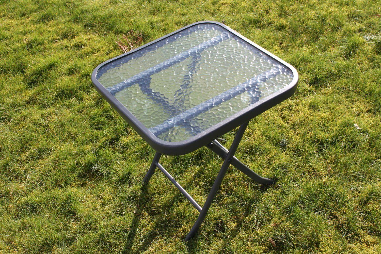 en métal verre pliante de avec et dessus Table en jardin de ...
