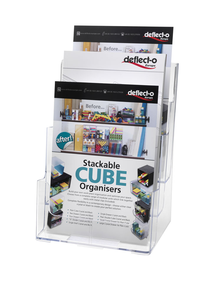 1//3 A4 Portrait 3 Tier Standing Wall Mount Leaflet Brochure Holder Display Stand