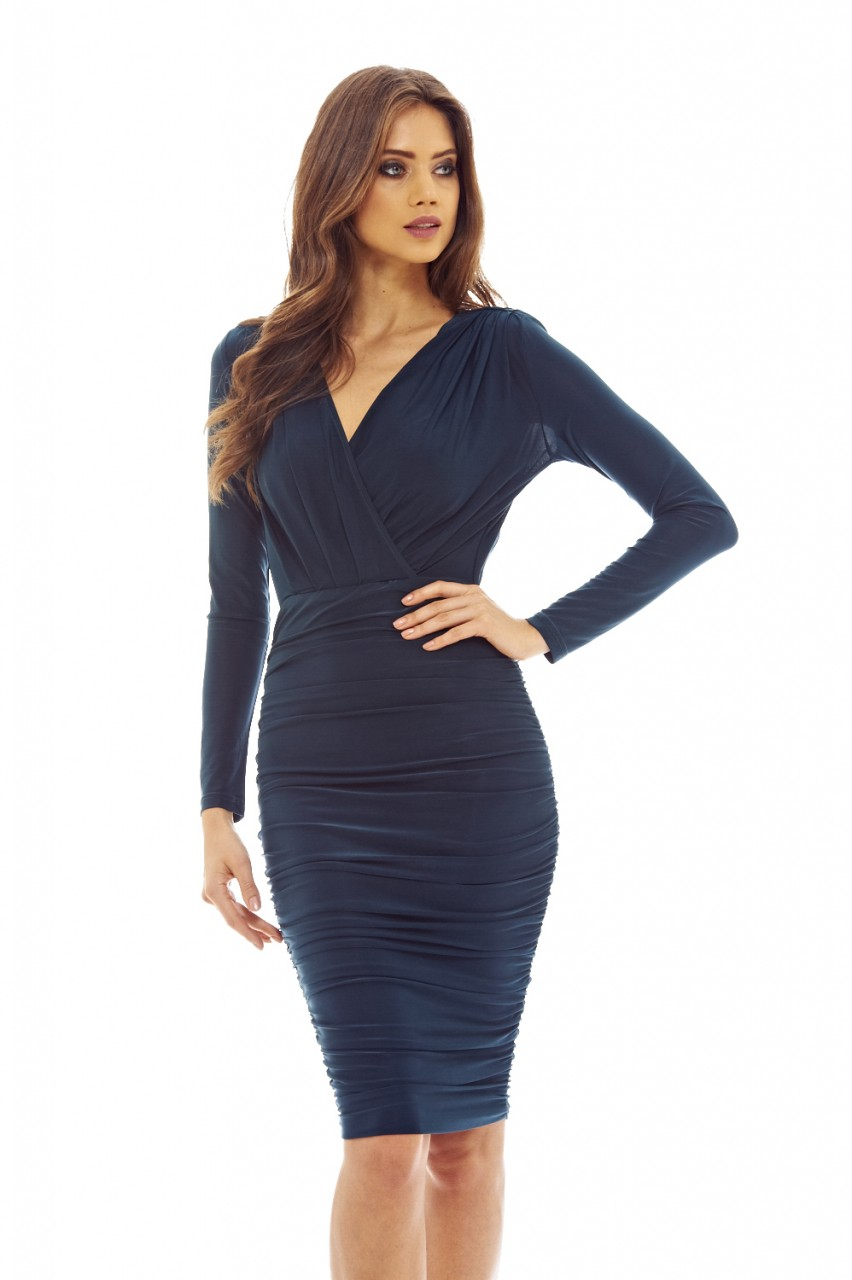 59e3d5d61b8c AX Paris Womens Teal Blue Bodycon Ruched Midi Dress