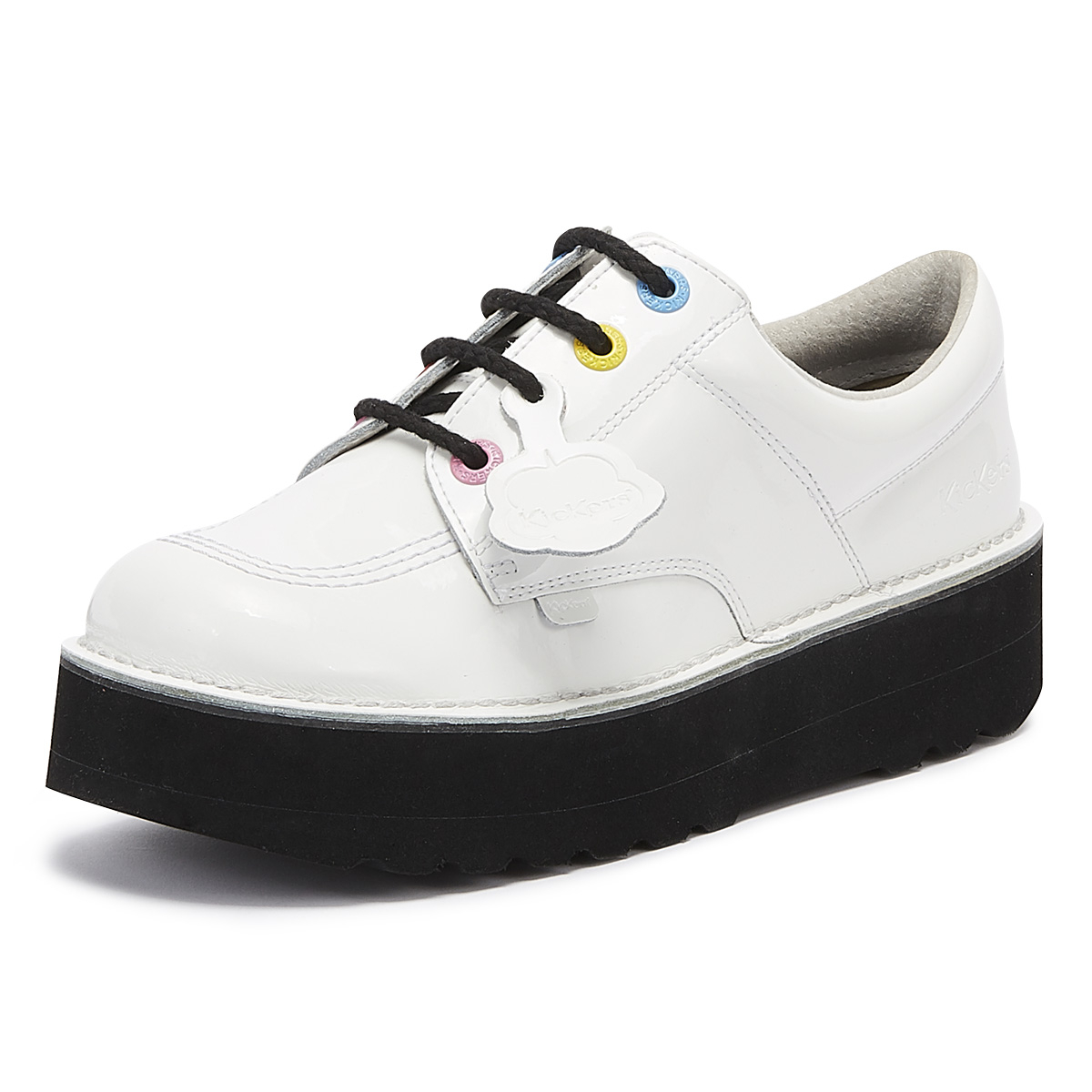 Kickers KICK LO W CORE Womens Ladies Leather Lace-Up Smart Casual Shoes Black