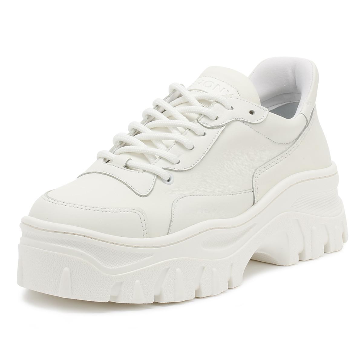 562765d269b Details about Bronx Womens Trainers White Jackson Lace Up Casual Ladies Platform  Shoes