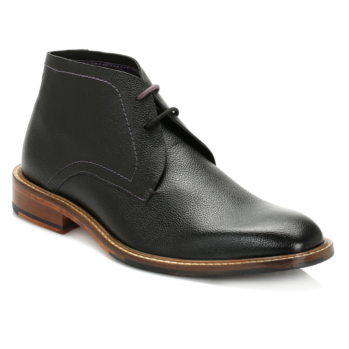 b9810d8c4 Ted Baker Mens Black Torsdi 4 Leather Chukka Boots Lace Up Formal ...