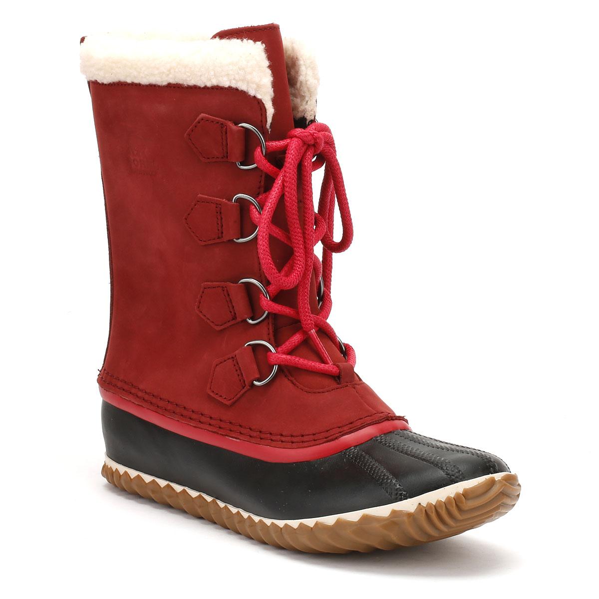 Sorel Womens Red & Black Caribou Slim Boots Warm Winter ...