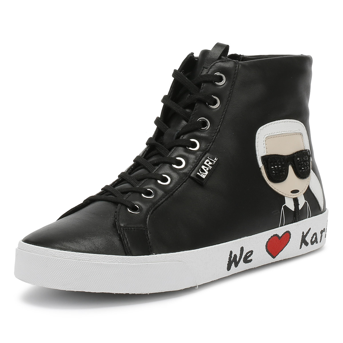 Details about Karl Lagerfeld Womens Trainers Skool Ikonic Black Lace Up  Ladies Hi Top Shoes f02be5c668