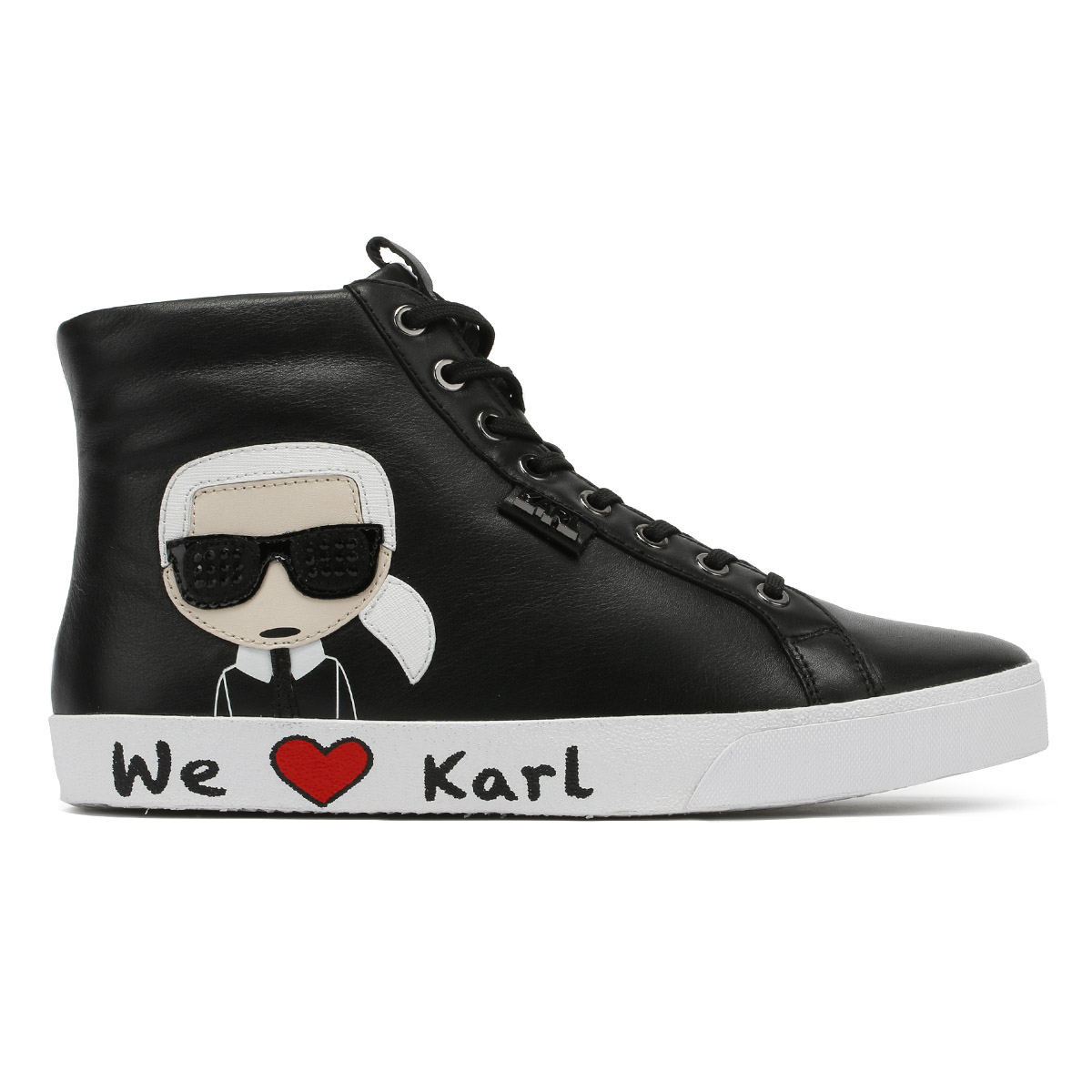 35f5d56e01d Karl Lagerfeld Womens Trainers Skool Ikonic Black Lace Up Ladies Hi ...