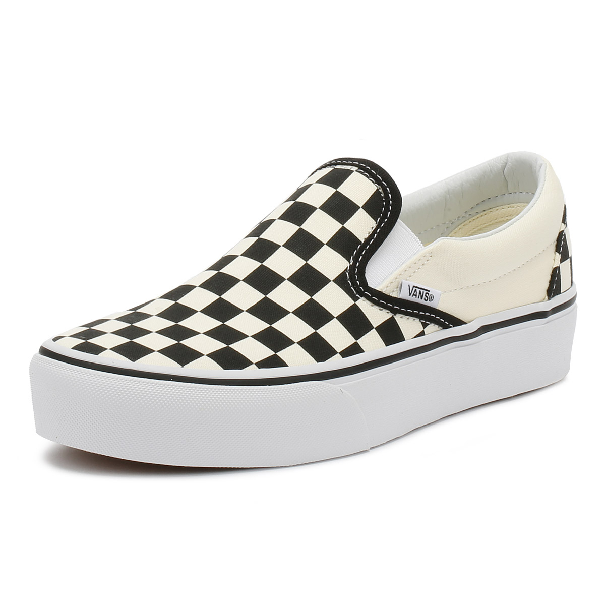 477dc8dadb Details about Vans Womens Trainers Black   White Checkerboard Slip On  Platform Casual Shoes