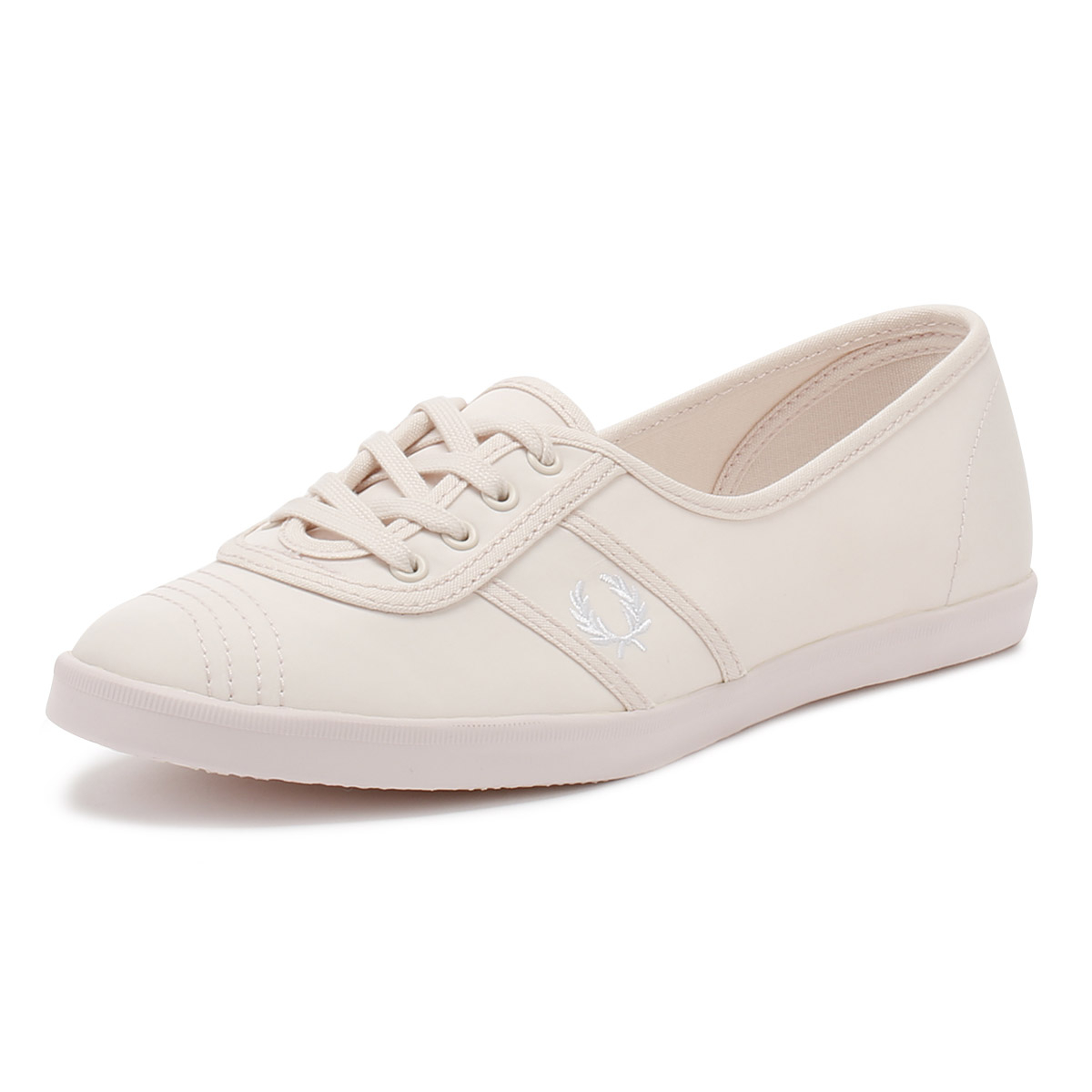 Fred Lace Perry Womens Trainers Pink & White Aubrey Poly Lace Fred Up Sport Casual Shoes dd0740