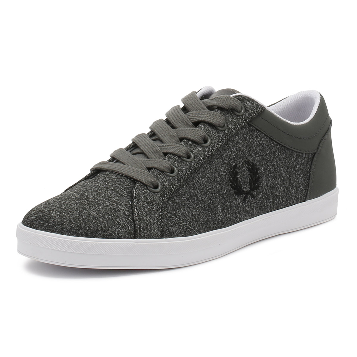 Fred Perry Mens Trainers Falcon Grey Baseline Marl Lace Up Sport Casual Shoes