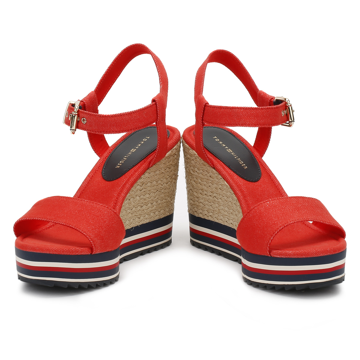 4d69e6e415c730 Tommy Hilfiger Womens Red   Black Wedge Sandals