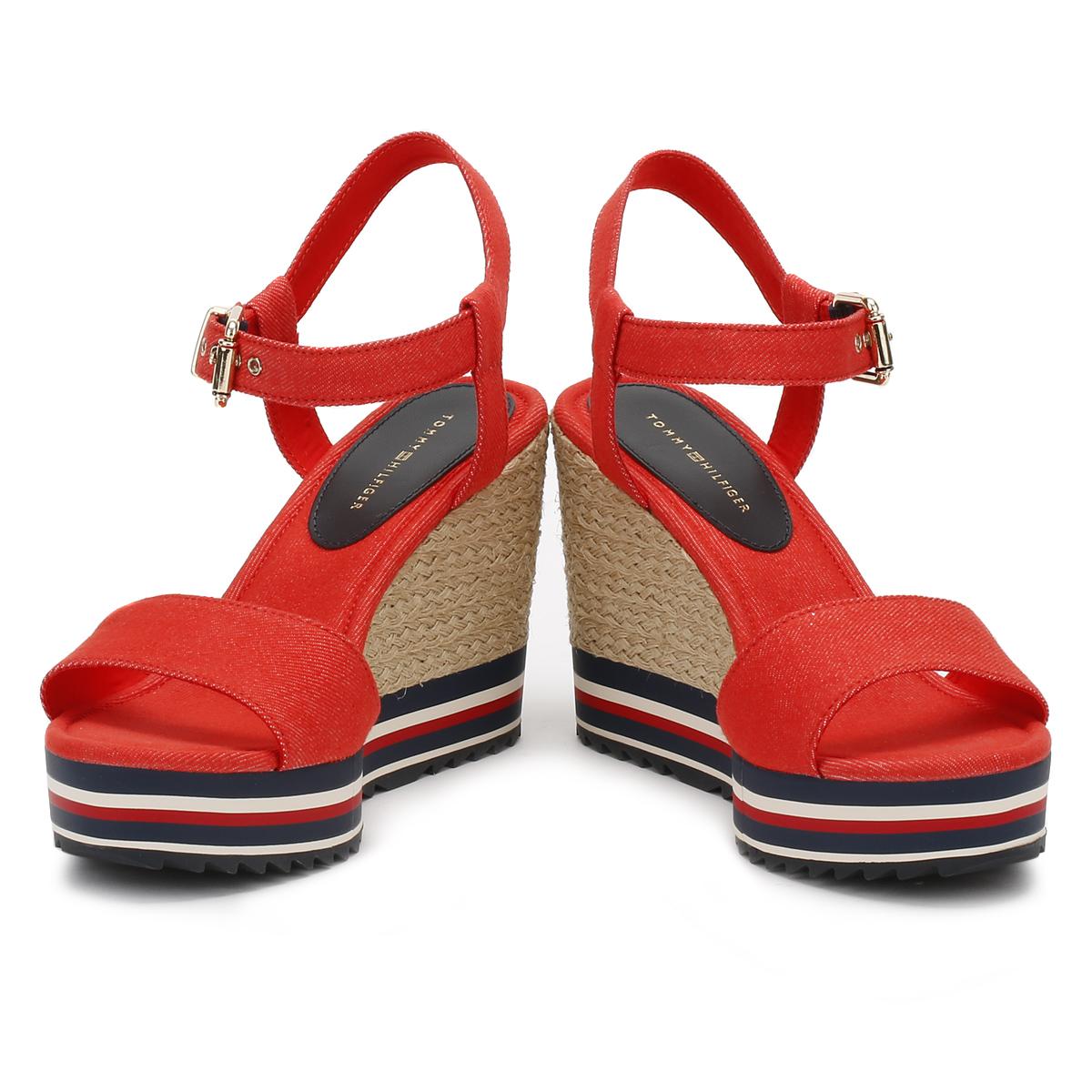 583e68bd24ee Tommy Hilfiger Womens Red   Black Wedge Sandals